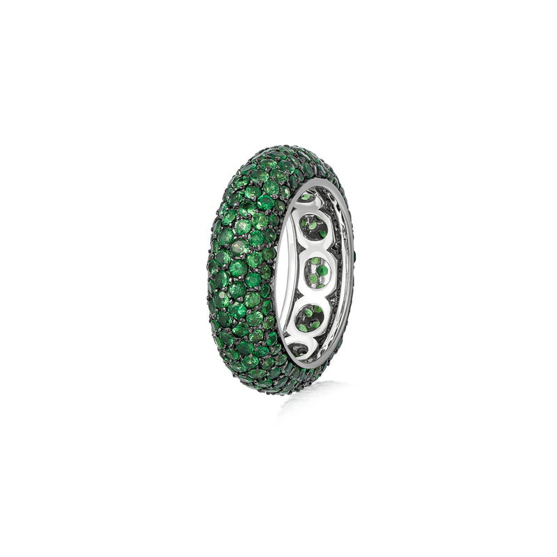 Starlight Six Row Tsavorite White Gold Ring