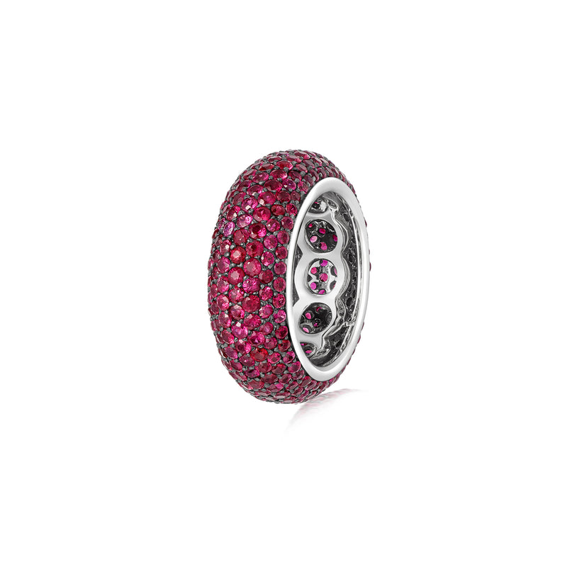 Starlight Seven Row Ruby White Gold Ring