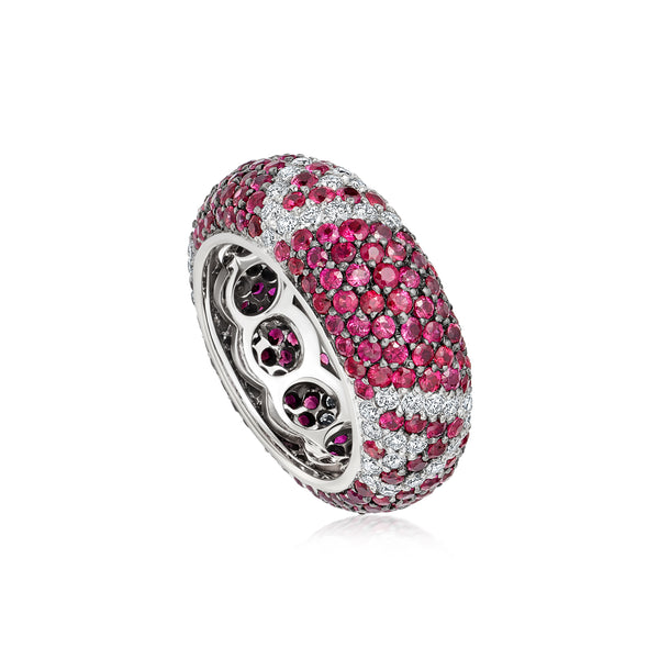 Starlight Seven Row Ruby and Diamond White Gold Geometric Ring