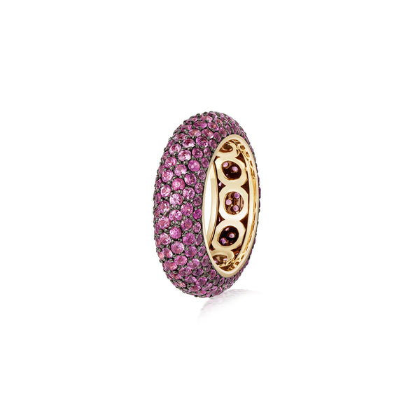 Starlight Six Row Pink Sapphire White Gold Ring