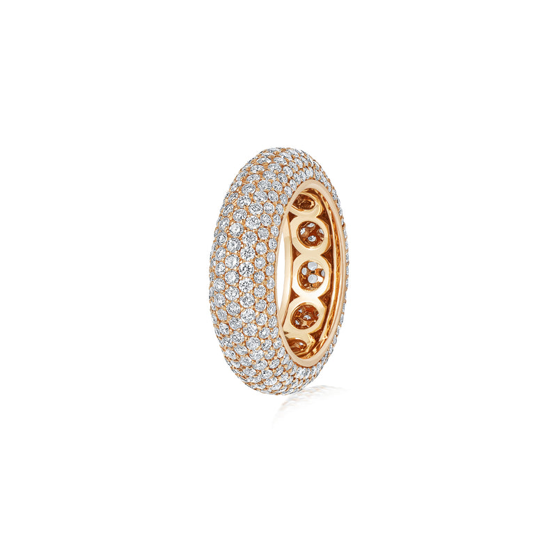 Starlight Seven Row Diamond Yellow Gold Ring