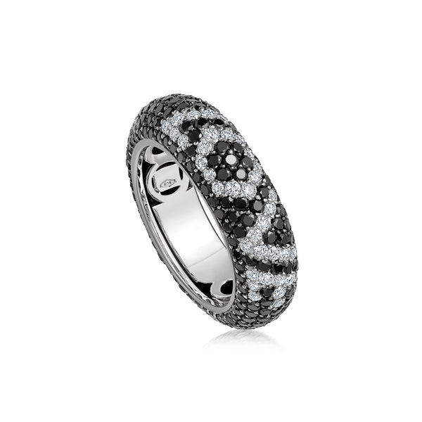 "Starlight Seven Row Black and White Diamond White Gold ""I LOVE YOU"" Ring"