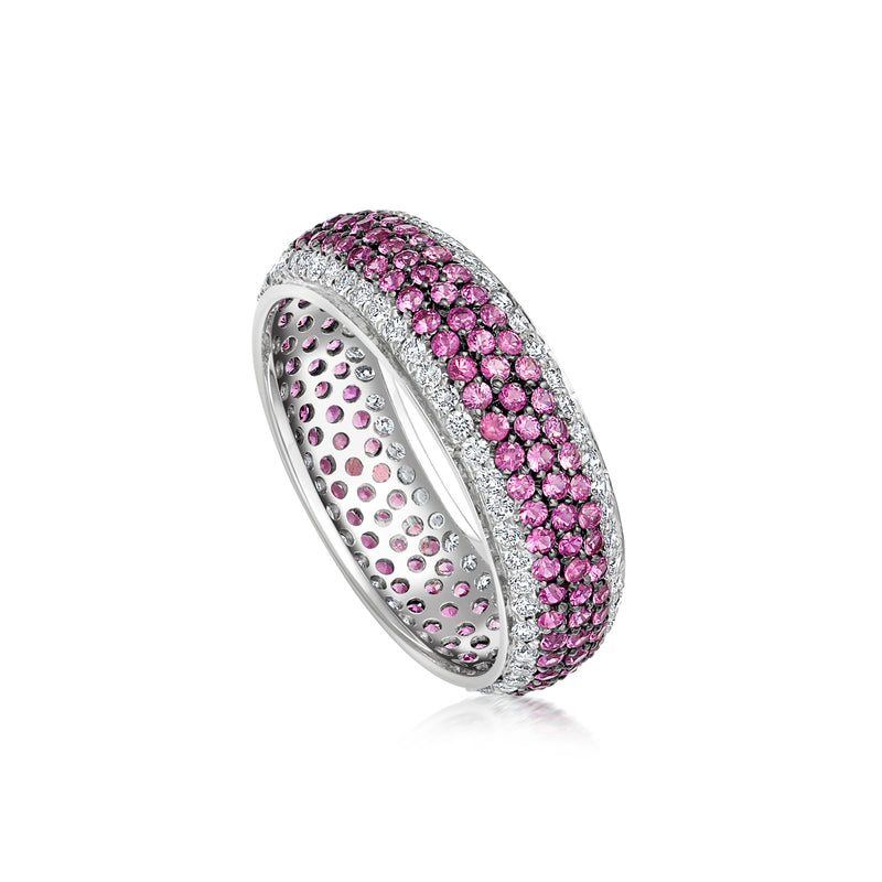 Starlight Five Row Pink Sapphire and White Diamond Stripe Ring