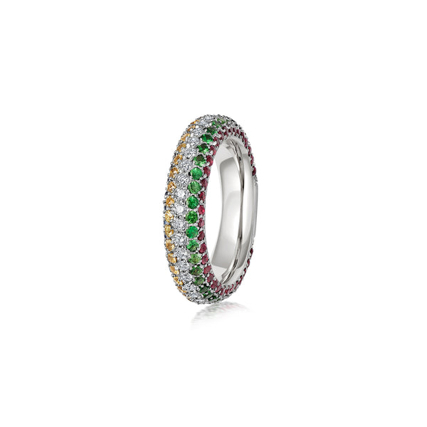 Starlight Five Row Diamond, Pink Sapphire and Tsavorite Stripe Ring