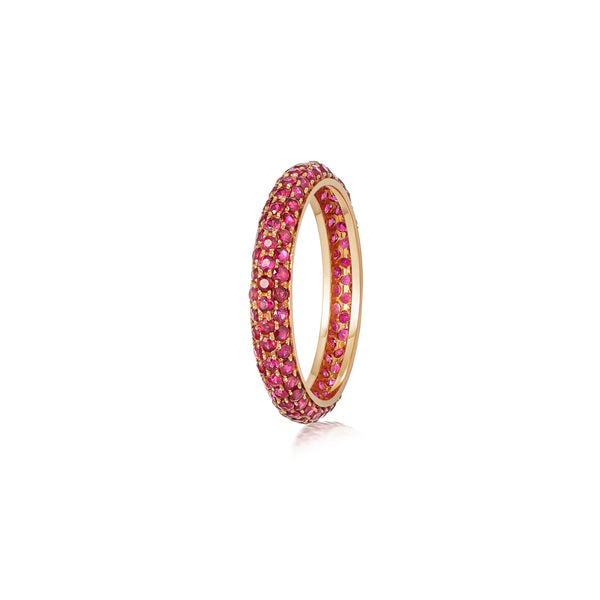 Starlight Three Row Ruby Rose Gold Ring
