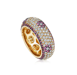 Starlight Seven Row Pink Sapphire and Diamond Yellow Gold Ring