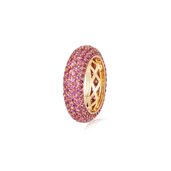 Starlight Six Row Pink Sapphire Yellow Gold Ring