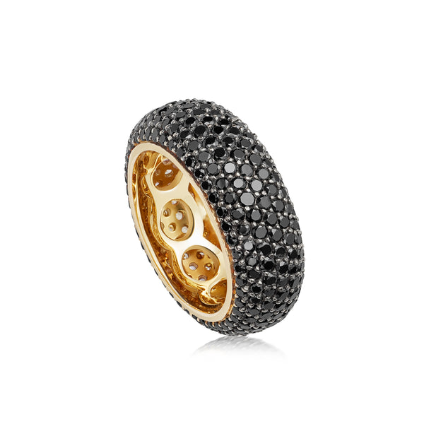 Starlight Seven Row Black Diamond Yellow Gold Ring