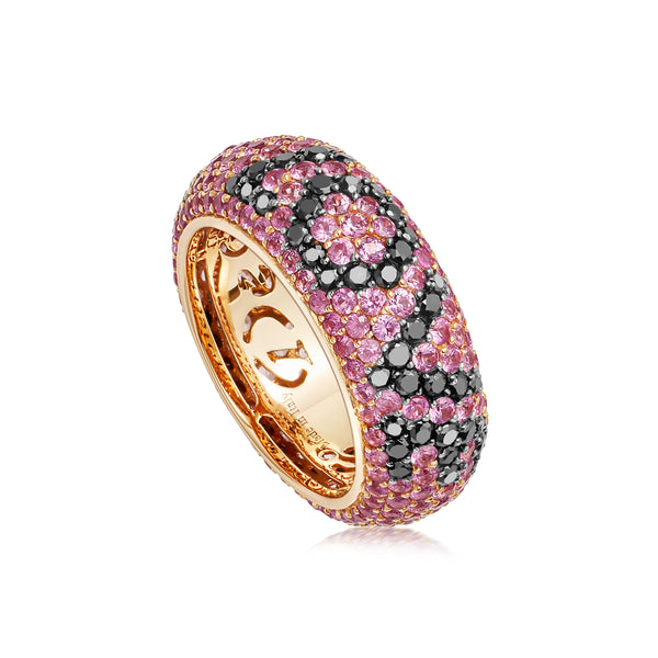 "Starlight Seven Row Pink Sapphires and Black Diamond Rose Gold ""LOVE"" Ring"