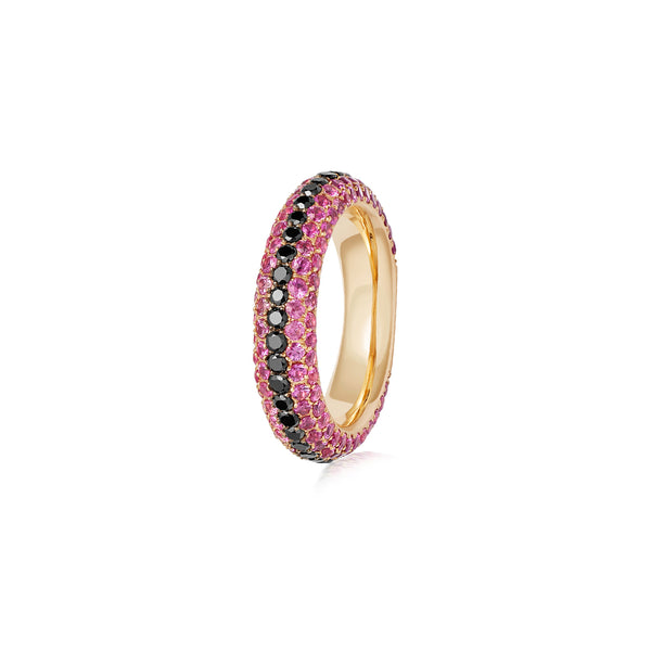 Starlight Five Row Pink Sapphire and Black Diamond Stripe Ring