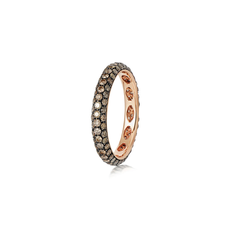 Starlight Three Row Brown Diamond Yellow Gold Ring