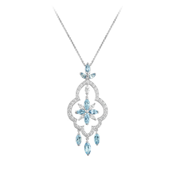 Stella Aquamarine and Diamond Pendant