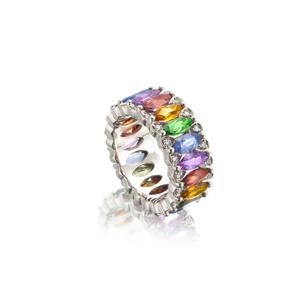 Amore Eternity Multicoloured Sapphire Ring