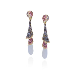 Venice Zanni Chalcedony Drop Earrings with Aquamarine and Pink Sapphire