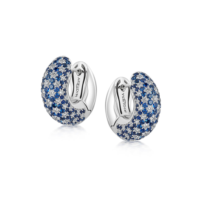 Starlight Small Blue Sapphire and Diamond Galaxy Hoop Earrings