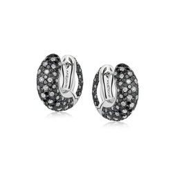 Starlight Small Black and White Diamond Galaxy Hoop Earrings
