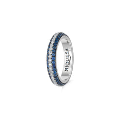 Starlight Three Row Blue Sapphire and Diamond Stripe Ring