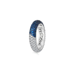 Starlight Five Row Blue Sapphire and Diamond Demi Ring