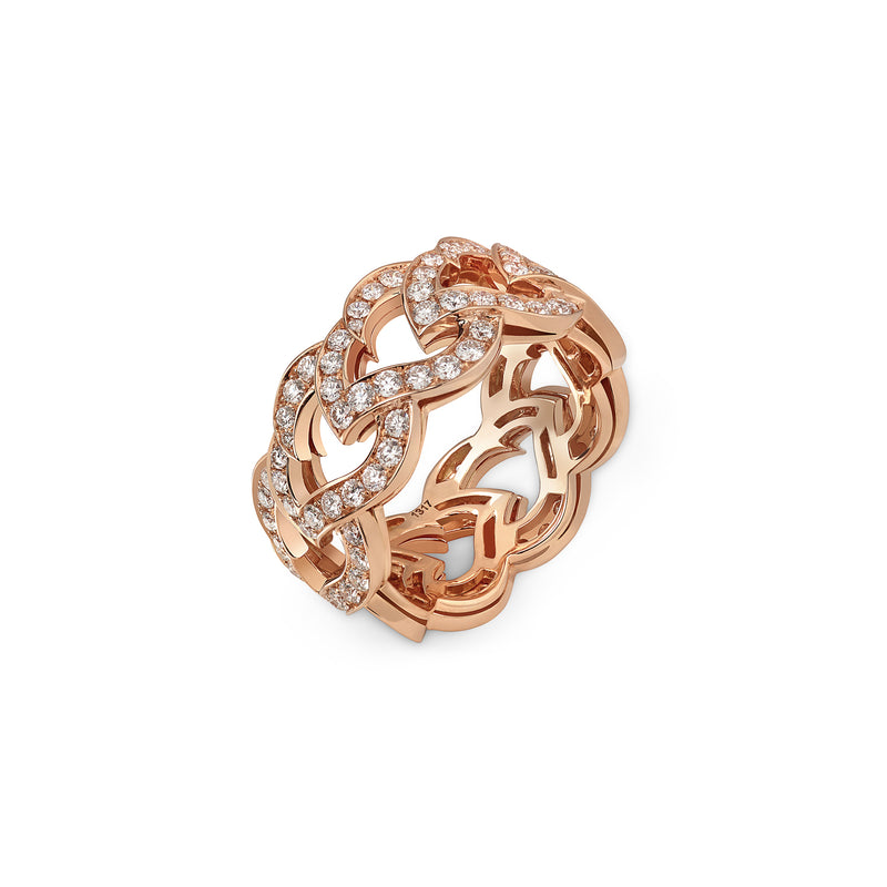 Kashmir Rose Gold and Diamond Chain Ring