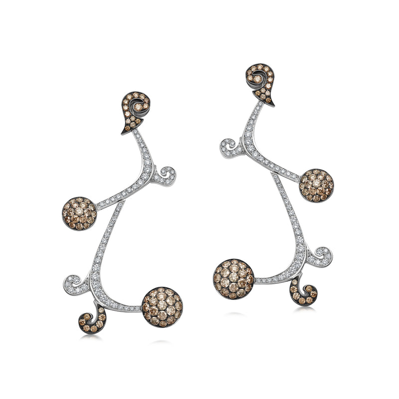 Signature Sakura Brown and White Diamond Earrings