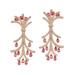 Signature Toro Peach Spinel and Diamond Earrings