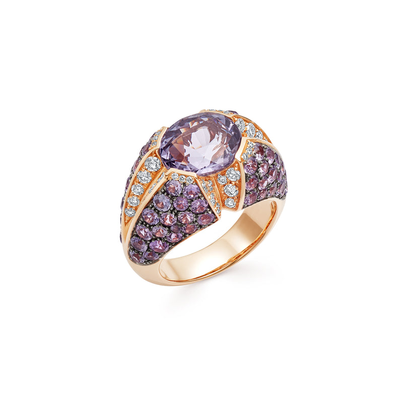 Signature Purple Spinel Ring with Sapphires and Diamonds