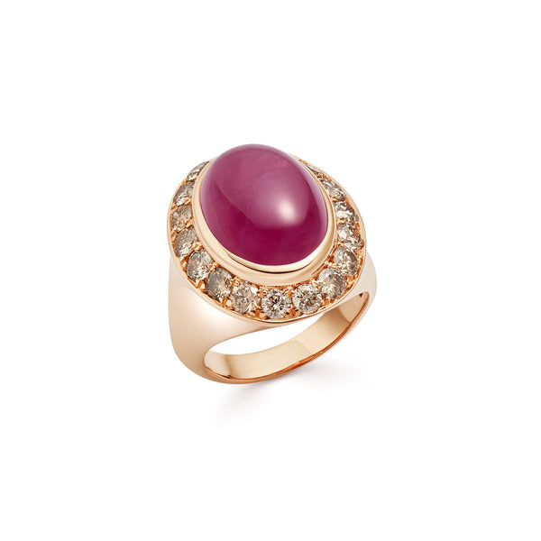 Pinky Ruby and Diamond Rose Gold Ring