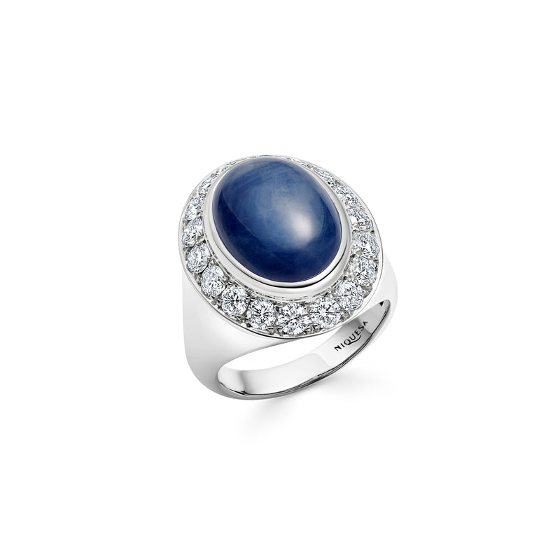 Pinky Blue Sapphire and Diamond White Gold Ring