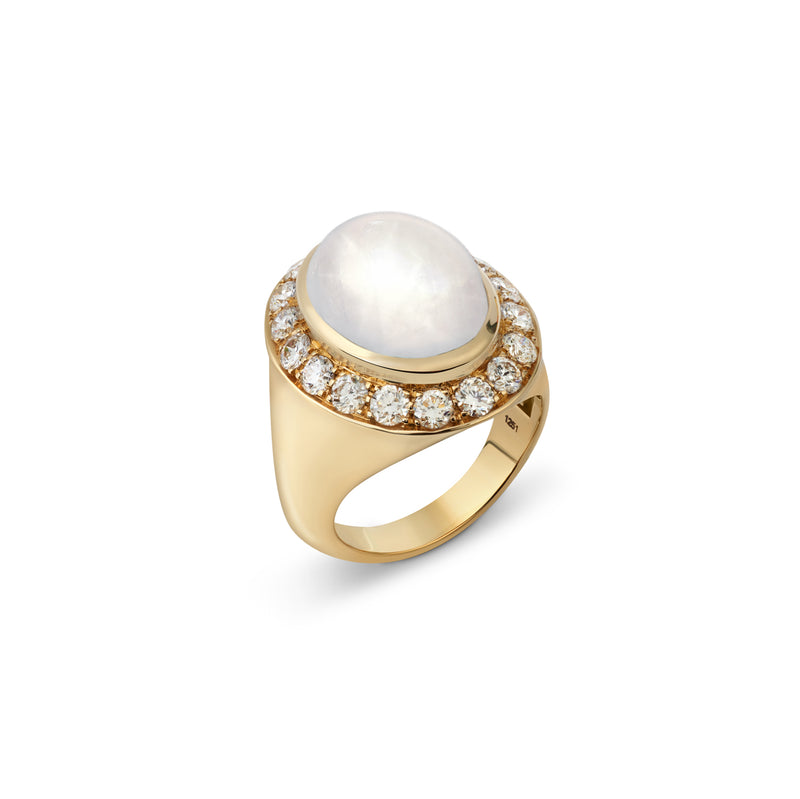 Pinky White Sapphire and Diamond Yellow Gold Ring