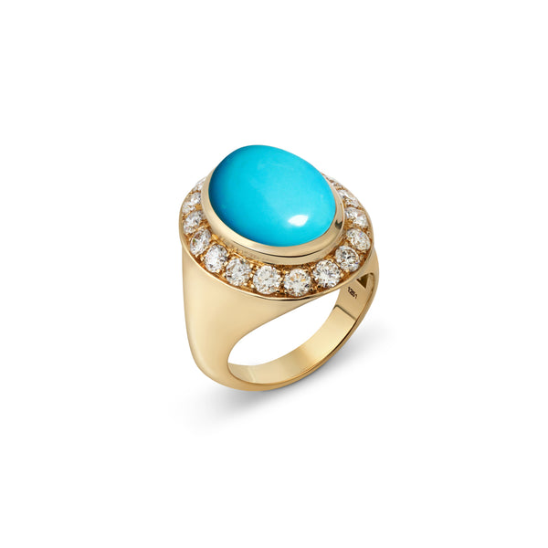 Pinky Turquoise and Diamond Yellow Gold Ring