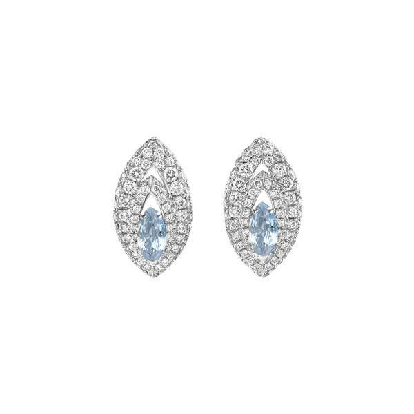 Gemma Aquamarine and Diamond Pave' Earrings