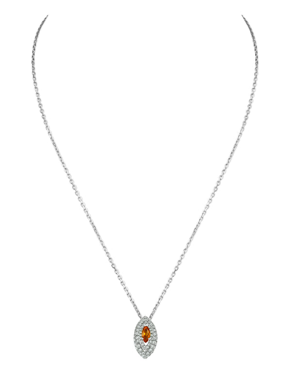 Gemma Orange Sapphire and Diamond Pave' Pendant