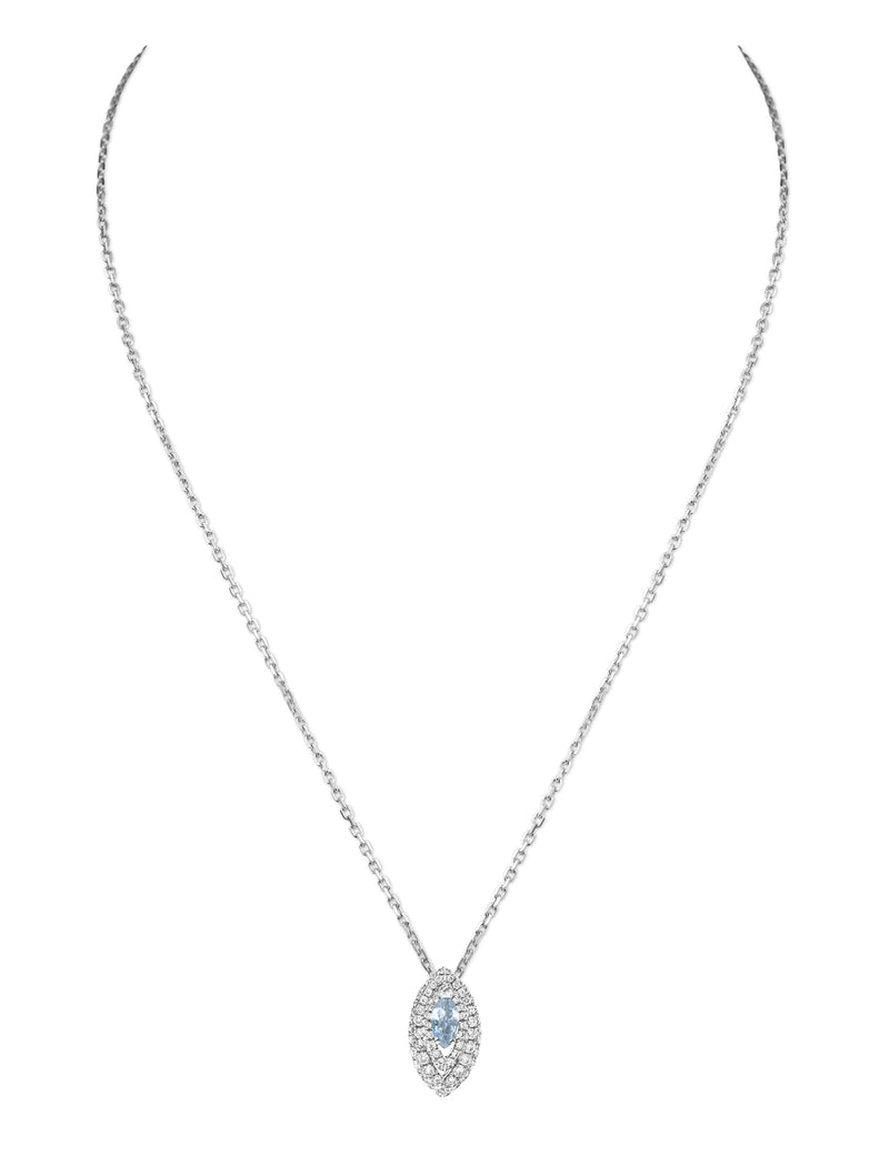Gemma Aquamarine and Diamond Pave' Pendant