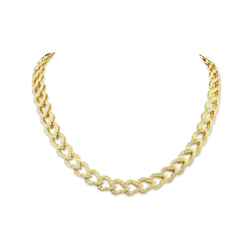 Kashmir Yellow Gold and Diamond Chain Necklace