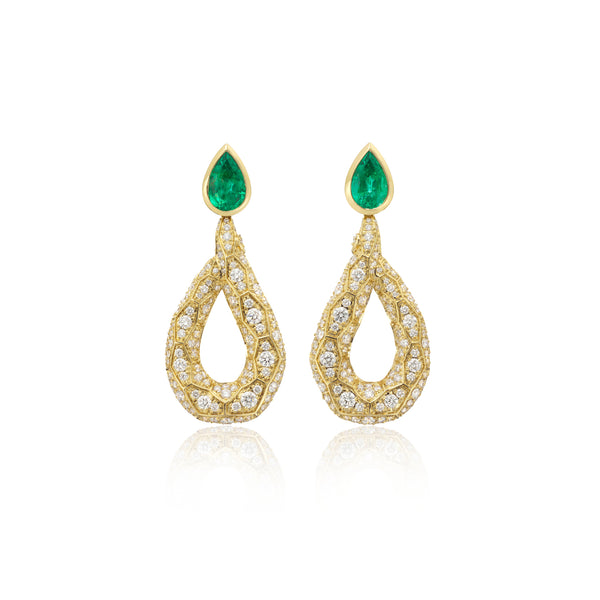 Ophidian Yellow Gold Diamond and Emerald Drop Earrings