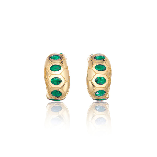 Ophidian Emerald Wide Hoop Earrings