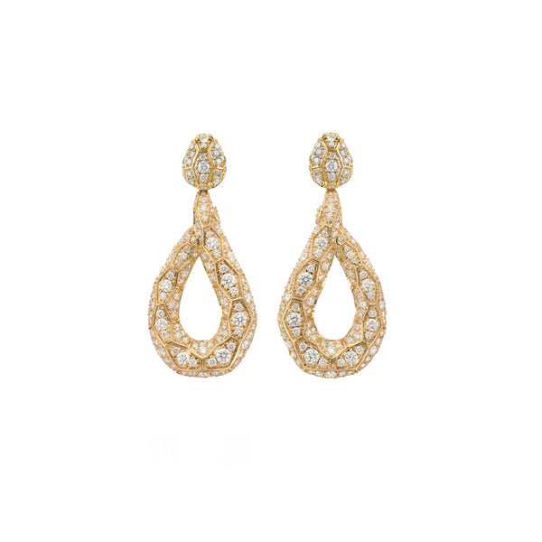 Ophidian Yellow Gold Diamond Drop Earrings