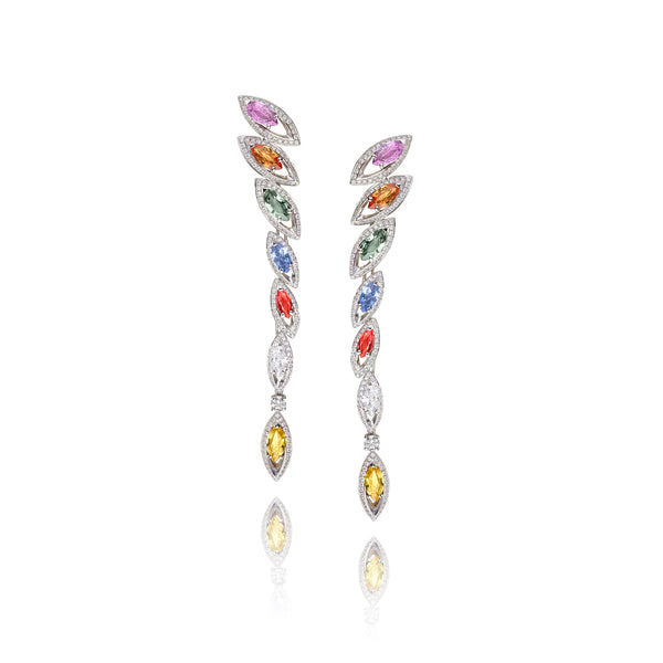 Petali Multicoloured Sapphire and Diamond Drop Earrings
