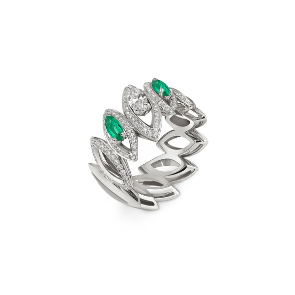 Petali Double Emerald and Diamond Ring