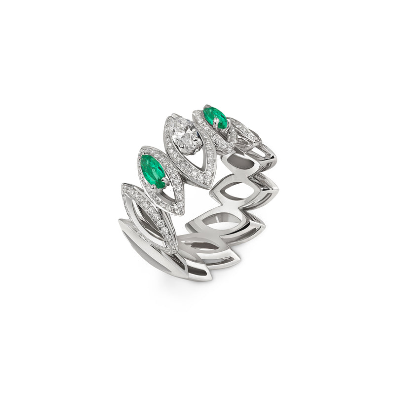 Petali Trilogy Double Emerald and Diamond Ring