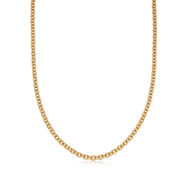 Handmade Medium Rolo Yellow Gold Necklace