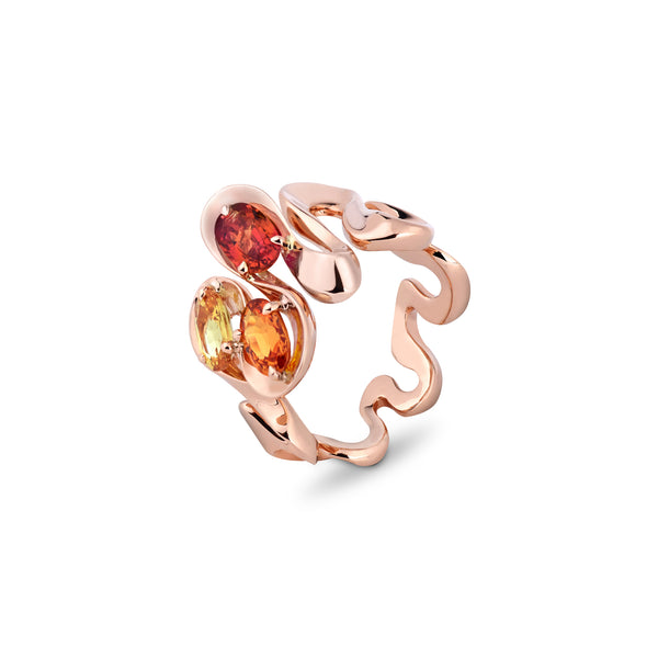 Danza Multicoloured Sapphire Trio Rose Gold Ring