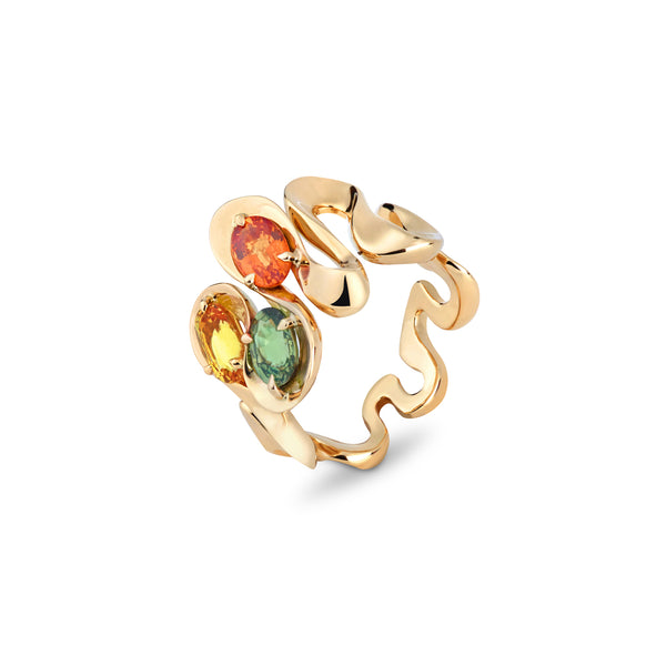 Danza Multicoloured Sapphire Trio Yellow Gold Ring