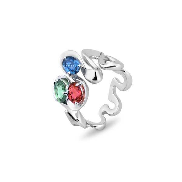 Danza Multicoloured Sapphire Trio White Gold Ring