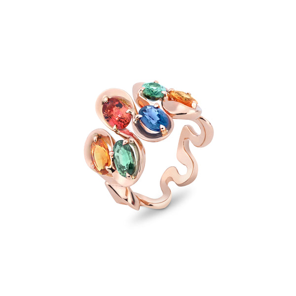 Danza Multicoloured Sapphire Rose Gold Ring