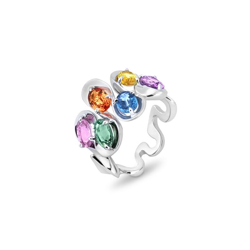 Danza Multicoloured Sapphire White Gold Ring