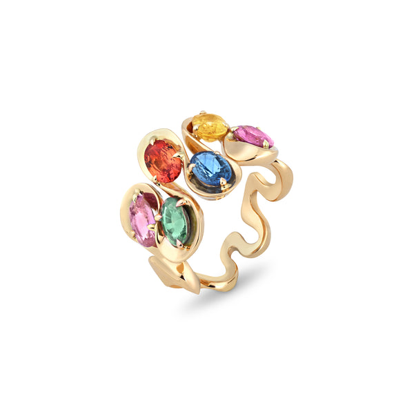 Danza Multicoloured Sapphire Yellow Gold Ring