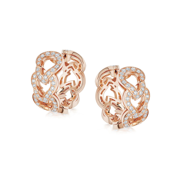 Kashmir Rose Gold and Diamond Hoop Earrings
