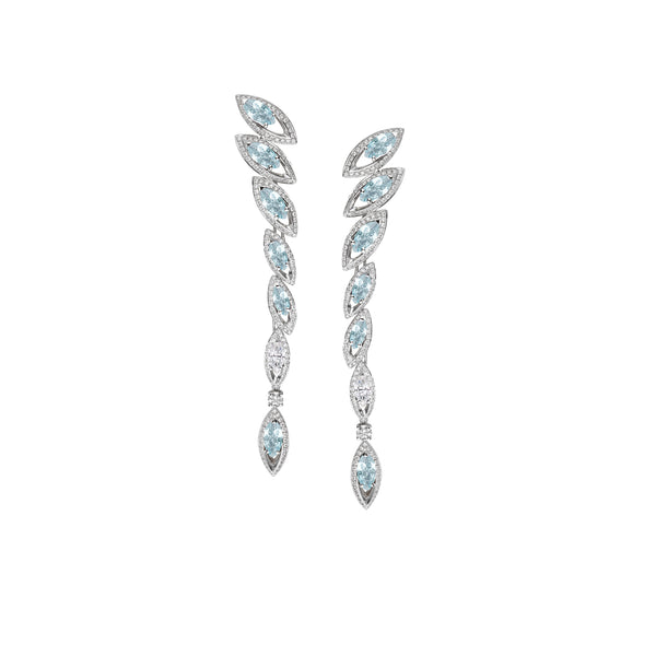 Petali Aquamarine and Diamond Drop Earrings