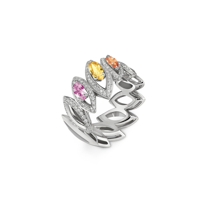 Petali Trilogy Multicoloured Sapphire Ring
